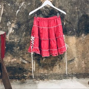 Putumayo Japanese punk lolita faded red skirt